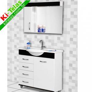 Conjunto Armário Para Banheiro C Espelheiro E Lâmpada Led